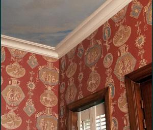 behangwerken met papier en schildertechniek